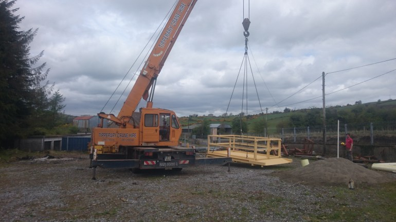 Load test being performed on lifting platform with load cell at our workshop prior to first use