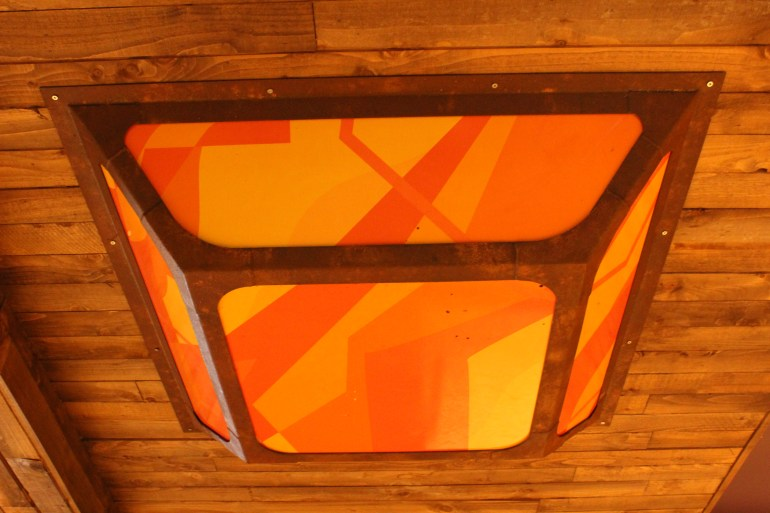 Painted Rust Effect Mild Steel Ceiling Light Frame with Perspex Infill (1)