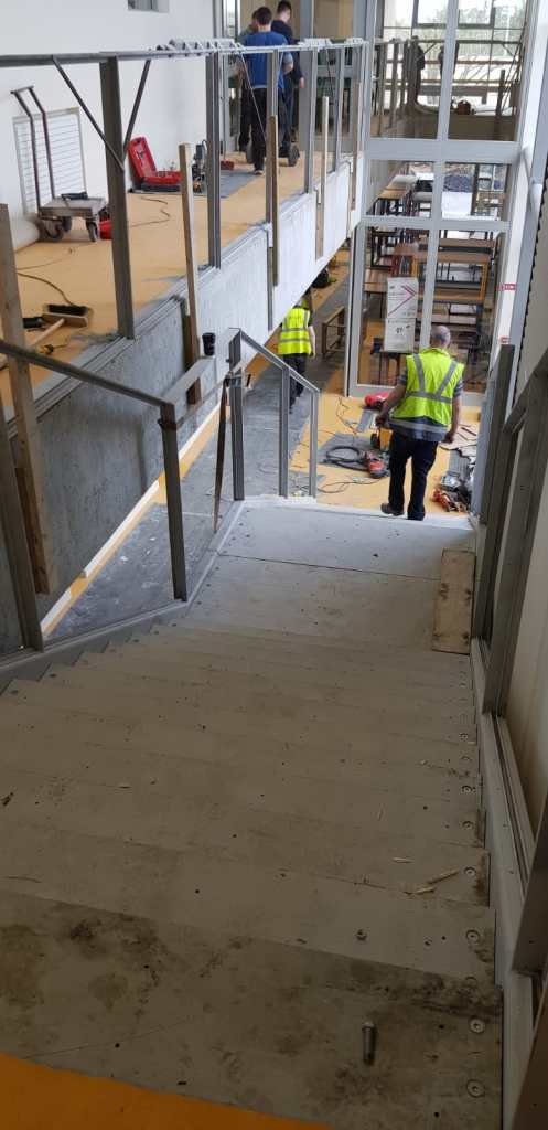 Installation of feature stair case in a school (4)