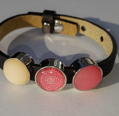 cuoio armband zwart - roze