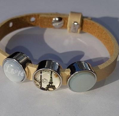 cuoio armband off white - blauw