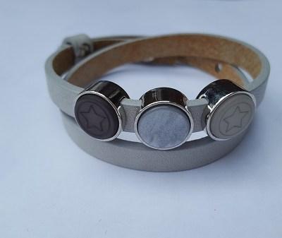 cuoio armband grijs