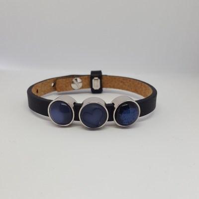 Cuoio armband enkel zwart-blauw