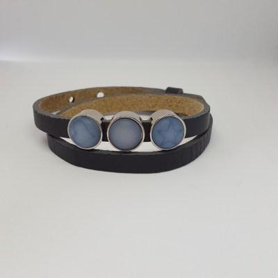 Cuoio armband grijs-blauw