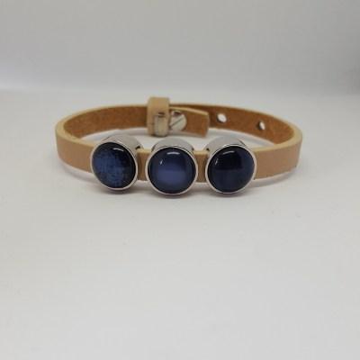 Cuoio armband off white-blauw