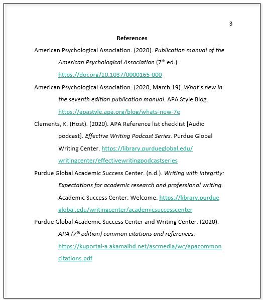 Sample Reference List APA 7th Ed.