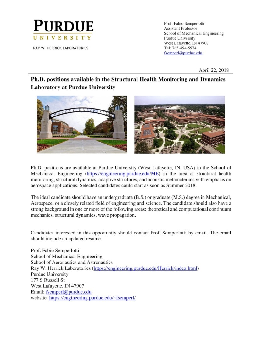 Ph D  Positions Available in the Structural Health Monitoring and