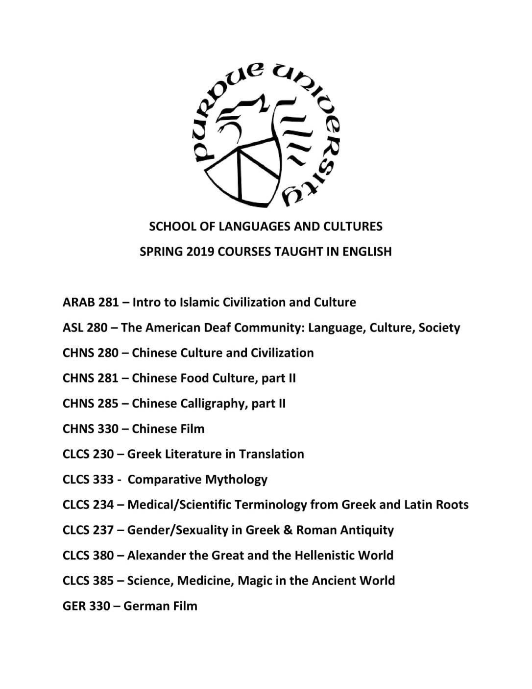 spring 2019 English-Taught Courses SLC-1