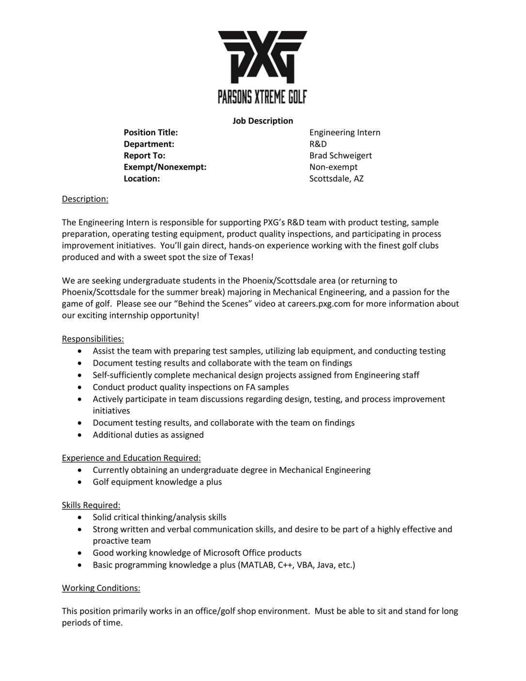 Engineering Intern - PXG-1