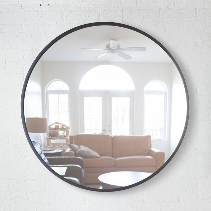 Grand miroir rond  grand miroir noir design Hub par Umbra