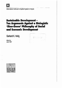 Sustainable Development: Ten Arguments Against a