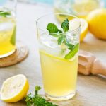Home made citroen limonade pure and liquid bottl