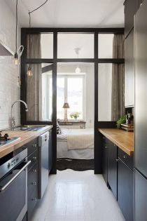 tiny black kitchen