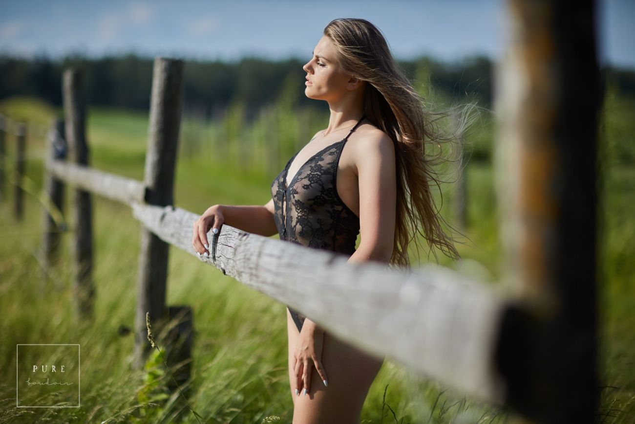 elegant outdoor lingerie portrait