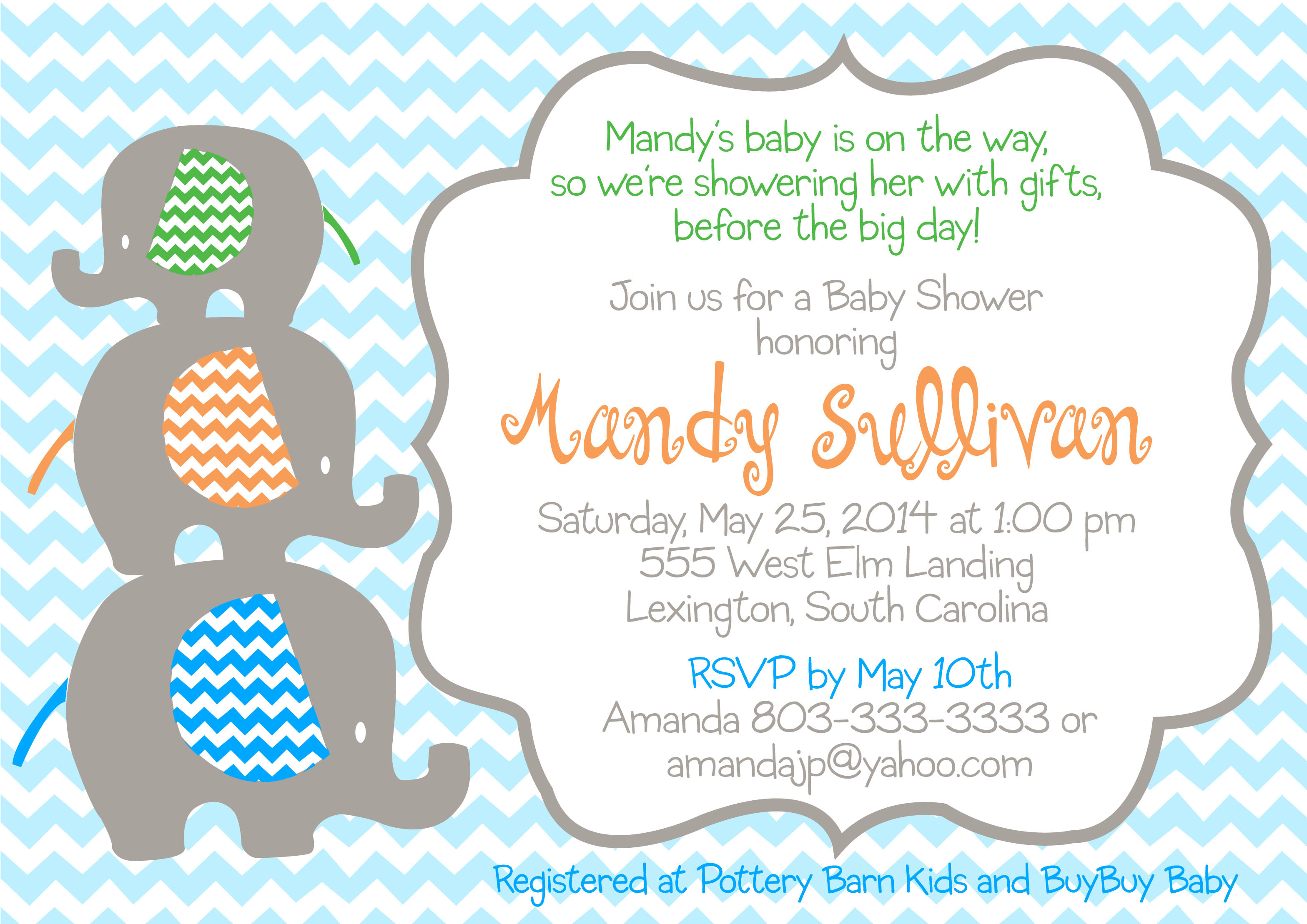 Baby Shower Stackable Elephant Invitation  Pure Design Graphics