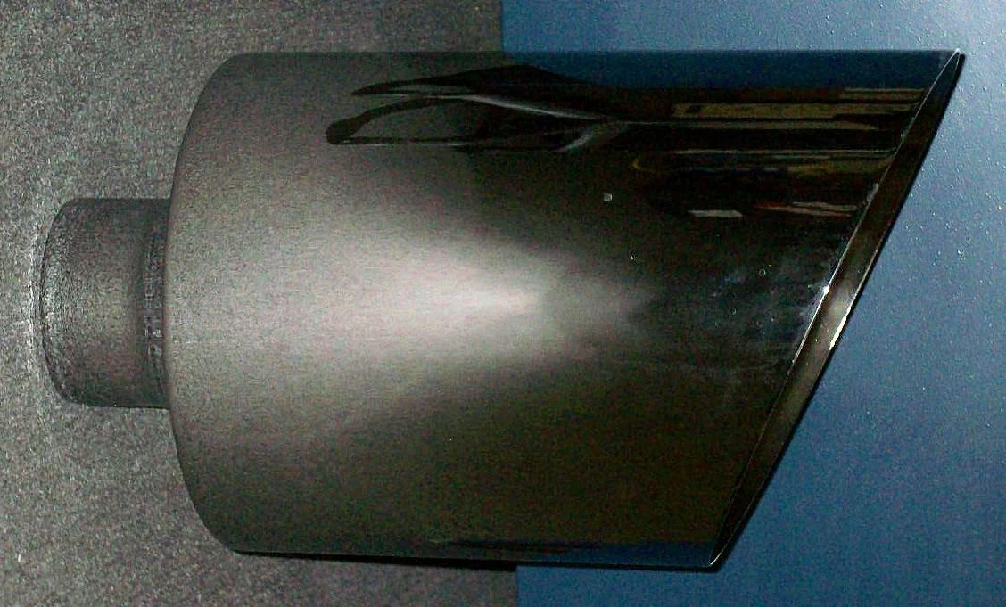 4 inch inlet 10 inch outlet 18 inch length weld on chrome exhaust tip