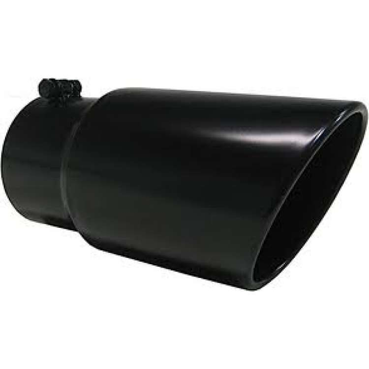 pypes 4 in inlet 7 in outlet 18 in long rolled edge black exhaust tip