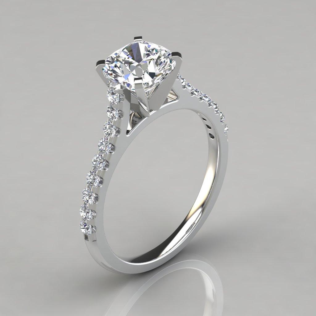 Cushion Cut Tall Cathedral Engagement Ring  Puregemsjewels