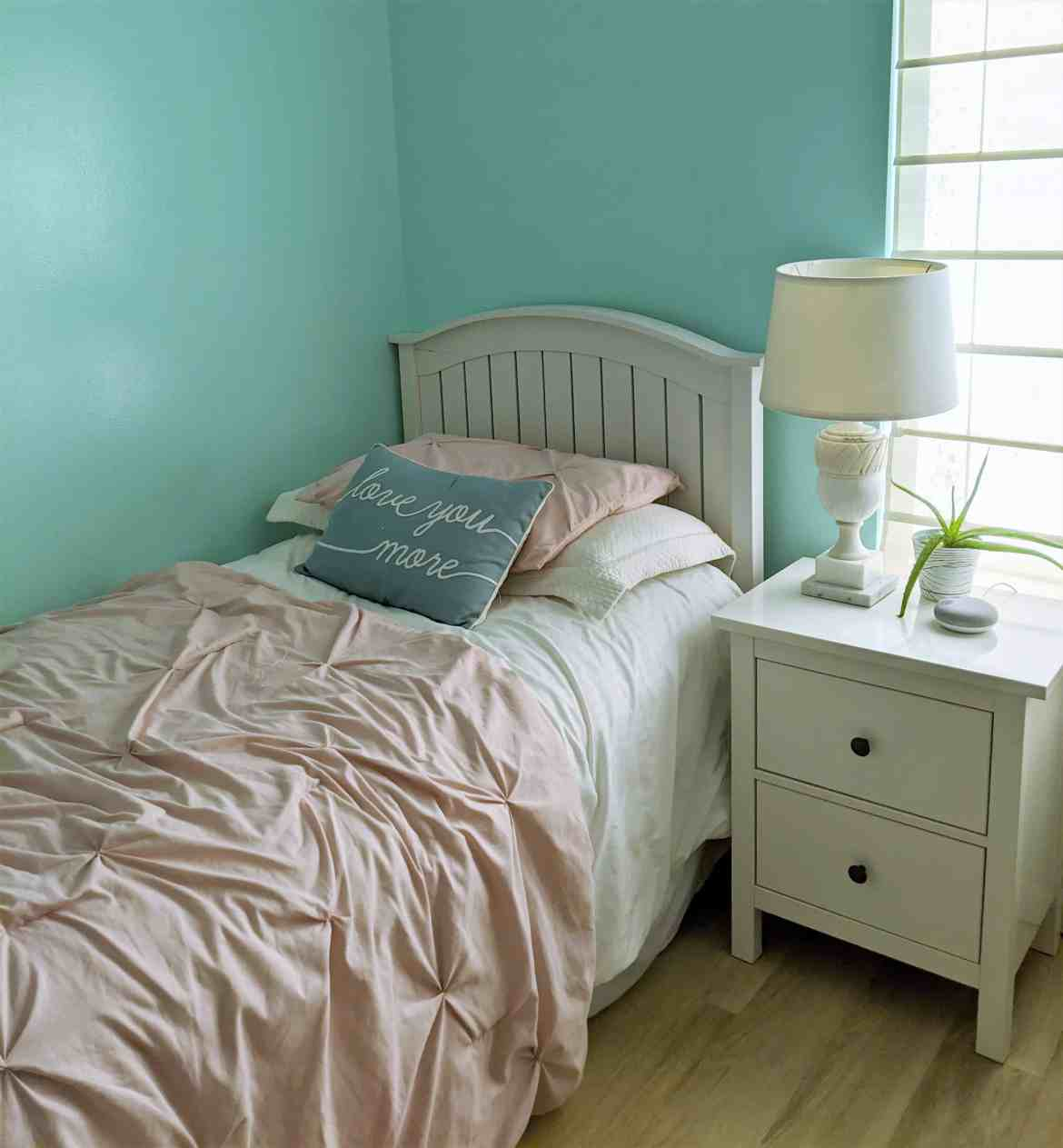blue girls bedroom white furniture
