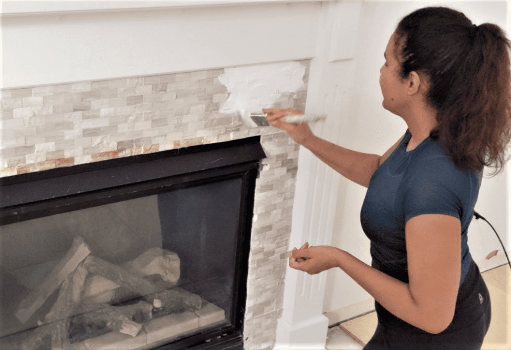 painting fireplace