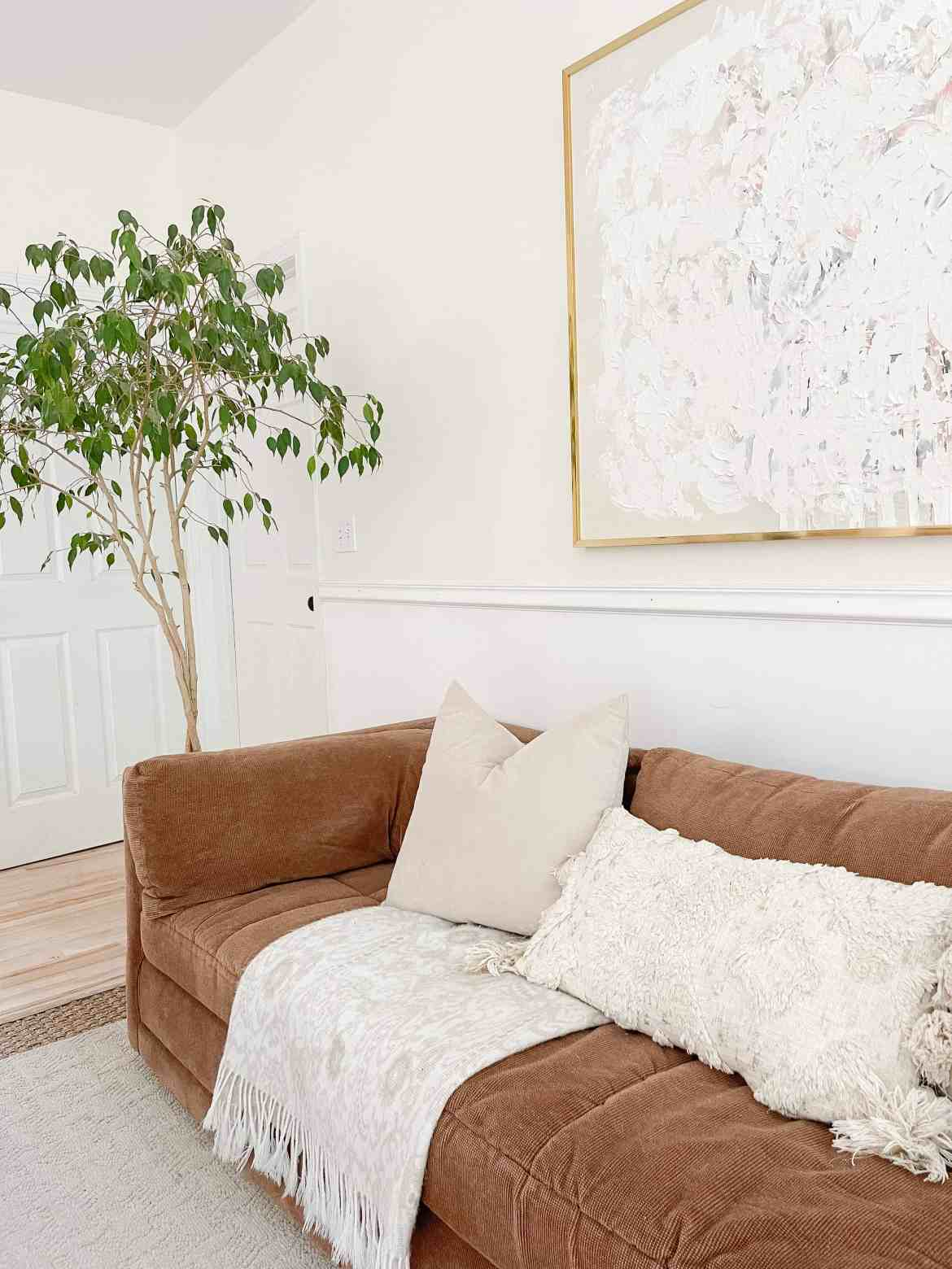 ficus tree abstract art styled living room