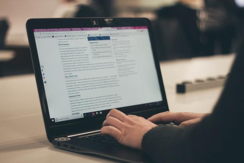 Blog content writer typing up an article