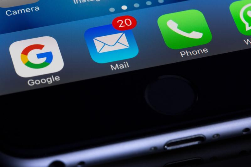 Email app on a smartphone