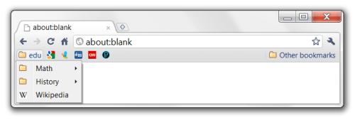 Google Chrome bookmark bar organized