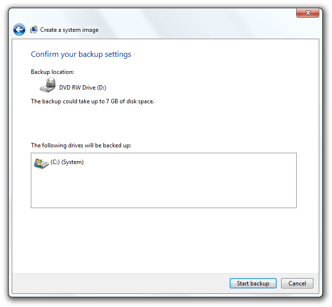 Confirm backup settings and Start backup