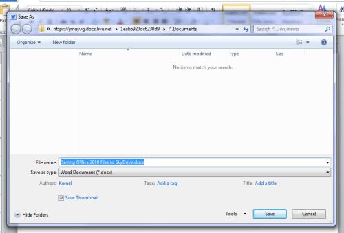 Windows Live SkyDrive Microsoft Office Save alert