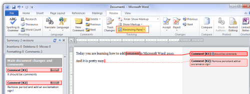 how to delete all comments in word 2010