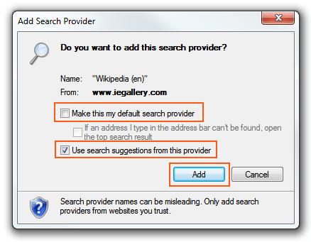 Internet Explorer 9 - Search Provider options