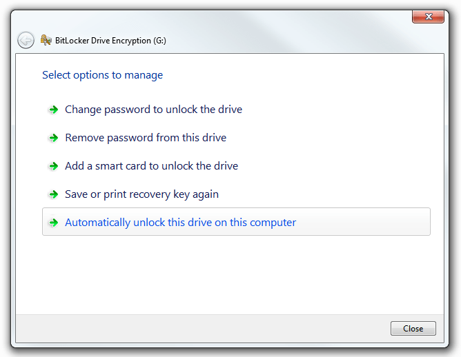 Windows BitLocker - More options