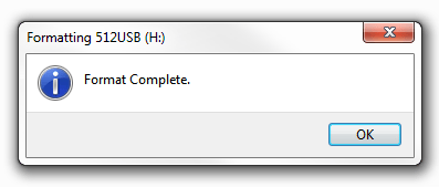 Windows 7 - Format complete