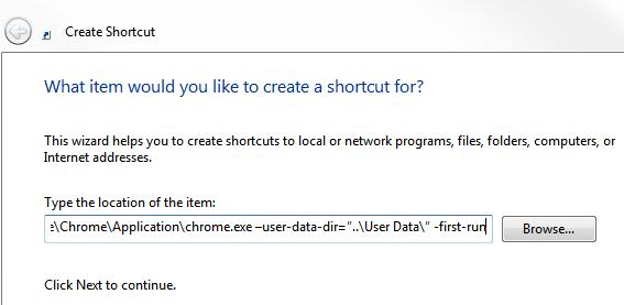 Create Shortcut in Windows 7