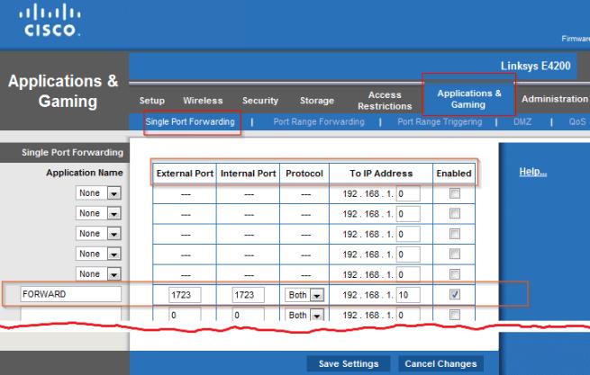 Cisco Linksys - Port Forwarding