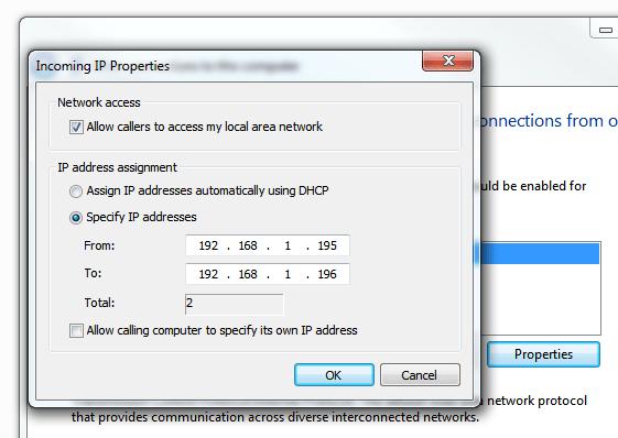 Windows 7 VPN Server - Incoming IP properties