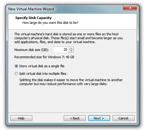 Windows 8 VM disk capacity in VMware