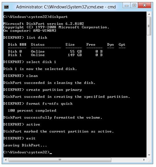 Windows 8 - Windows To Go: DIskpart