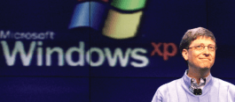 Windows XP 10 years old and Bill Gates on the right