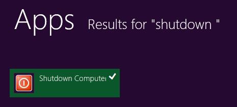 Shutdown search Windows 8