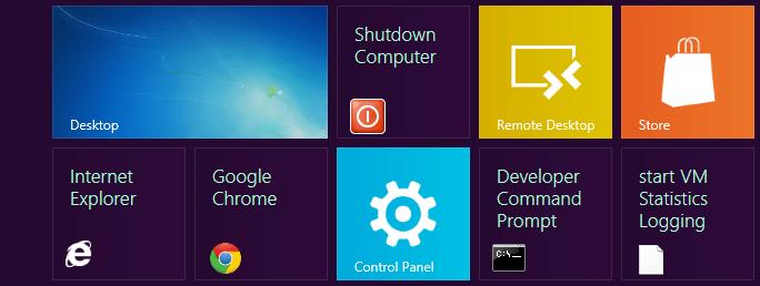 Shutdown shortcut - Start screen - Windows 8