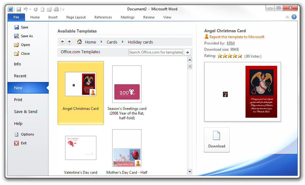 microsoft office greeting card templates