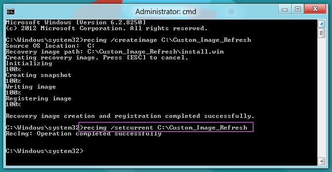 Recimg Setcurrent - Windows 8