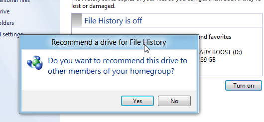 Recommend a drive for File History