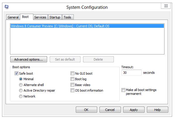 Safe Boot - msconfig - Windows 8