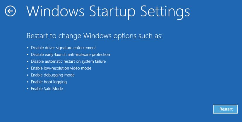 Windows Startup Settings - Windows 8