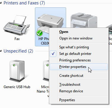 Printer properties  Windows menu