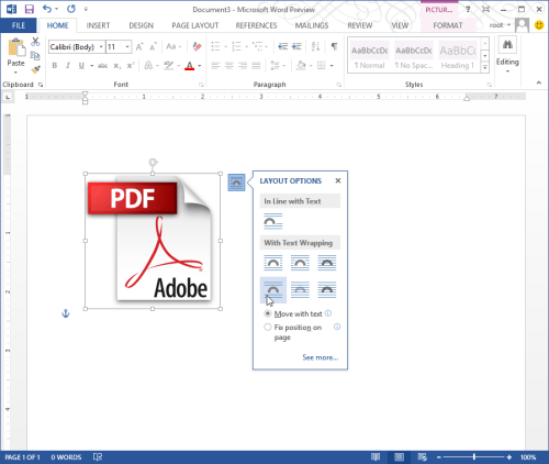 Word with PDF support