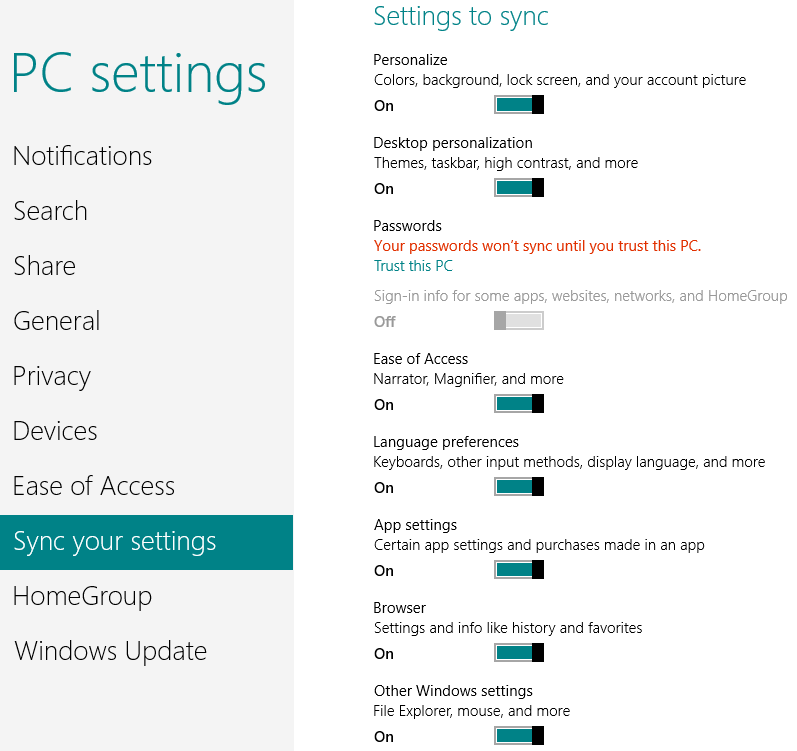 PC Settings - Sync - Windows 8
